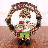 YOUHU Adornos Navideños,Decoración De Navidad Feliz Navidad Círculo De Ratán Puerta De Navidad Colgante De Pared Muñeco De Nieve Colgante Adornos De Ventana Saludos Suministros para Fiestas En Casa