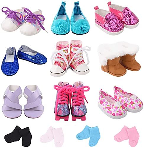 ebuddy 9 Pairs Doll Shoes and 2 Pairs Socks Doll Accessories Fit for 18 inch Dolls Like American Girl Doll, Journey Girl Doll, Our Generation Dolls