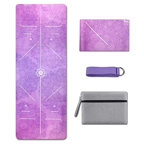 Yoga Mat Foldable 1/16 Inch Thick Non-Slip Travel Yoga Mat Cover Pad Sweat Absorbent and Soft Lightweight Exercise Workout Mat with Stretch Band Strap for Yoga Pilates and Fitness (Light Purple)