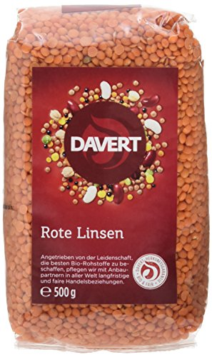 Davert Ganze Rote Linsen, 4er Pack (4 x 500 g) - Bio*