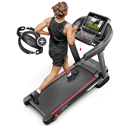 Sportstech F37 Professional Treadmill - German Quality Brand - Video Events & Multiplayer App, 7hp to 20 km/h + lubrication system, foldable, big surface, TÜV/GS, pulse belt, loudspeaker, up to 150kg