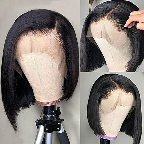 Short Straight Bob Lace Front Wigs Human Hair With Baby Hair 13x4 Brazilian Straight Virgin Human Hair Lace Front Wigs for Black Women Pre Plucked(8 Inch, 13x4 Straight Bob Wig)