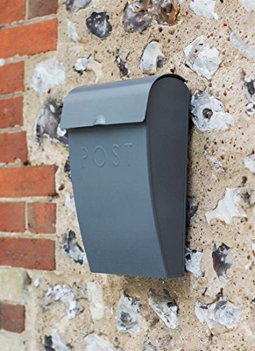 Garden Trading Charcoal Grey Letter Post Mail Box with Lock Wall Mounted