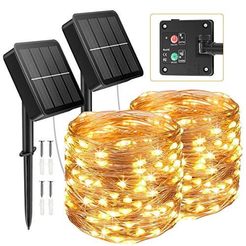 [2 Paquete] Litogo Guirnaldas Luces Exterior Solar, 12m 120 LED Luces Solares LED Exterior Jardin, 8 Modos con Función de Memoria y Tecla de Instrucciones LED Solar Jardin Decoracion para Jardines