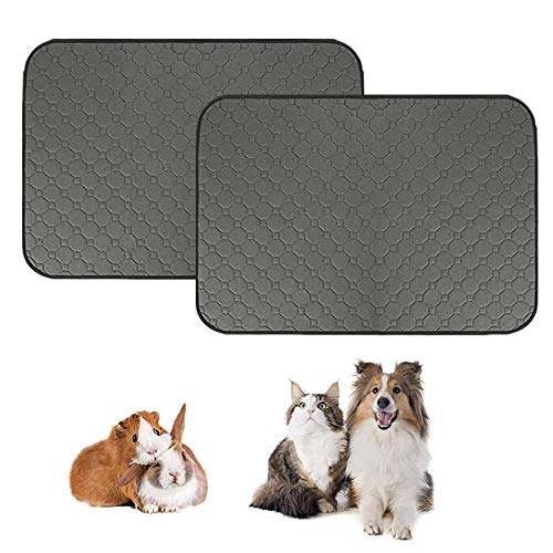 JWShang Guinea Pig Fleece Cage Liners, Pet Washable Pee Pad, Waterproof Reusable Dog Cat Mat, Anti Slip Small Animals Bedding with Super Absorben - 28'x 40' (2pcs-L)