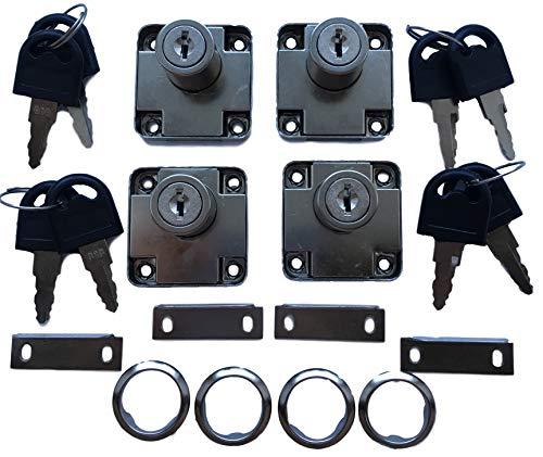 4er Set Aufsatzschloss mit Winkel und 8x Schlüssel + Abdeckung – auch als Einbauschloss/Nachträgliches Schloss für Möbel Schränke