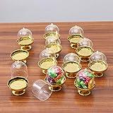 STOBOK 12pcs Mini Tortenständer Kuchenglocke Glasglocke mit Teller Hochzeit Party Servierplatte (Goldene Basis) - 4