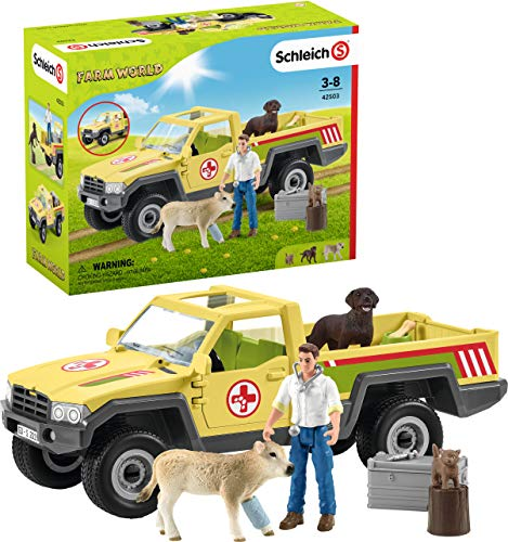 Schleich Farm World Vet Visit to the Farm 12-piece Educational Playset for Kids Ages 3-8