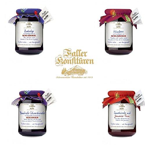Marmelade aus dem Schwarzwald Faller Spezial Set Marmelade mit Schnaps und Rum 4 Sorten