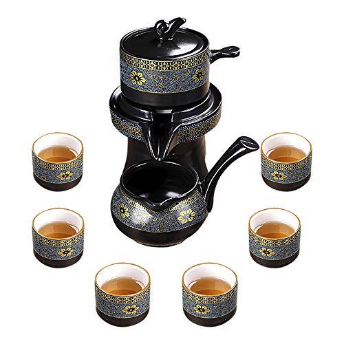 fanquare Chinesisches Kungfu-Tee-Set, halbautomatische Steinmühle, Teekanne mit Sieb, schwarzes Teeservice für Erwachsene