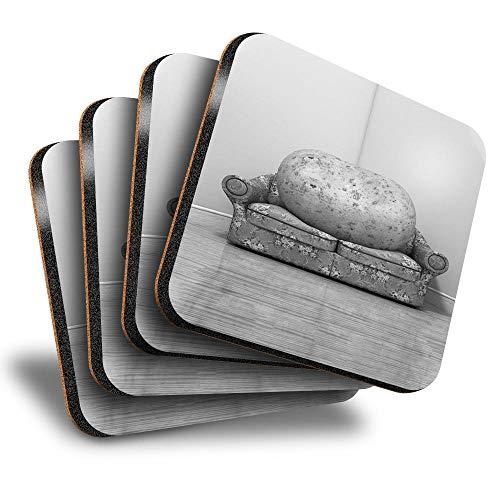 Destination Vinyl ltd Great Posavasos (juego de 4) cuadrados – BW – Sofá patata vegetal, broma perezoso, bebida, posavasos brillantes/protección de mesa para cualquier tipo de mesa #37322