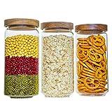 Glasdosen mit Holzdeckel von 3 für die Aufbewahrung von Lebensmitteln und Küchenorganisation, hergestellt aus Borosilikatglas, sicher für Pasta, Müsli, Mehl, Nüsse, für Küche und Speisekammer, 1000 ml