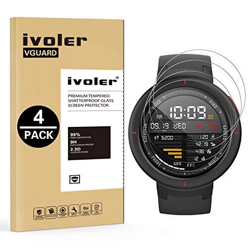 VGUARD 4 Unidades Protector de Pantalla para Huawei Watch GT/Huawei Watch GT Active/Huami Amazfit Verge/Amazfit Verge Lite/Amazfit T-Rex/Garmin Swim 2, Cristal Vidrio Templado Premium