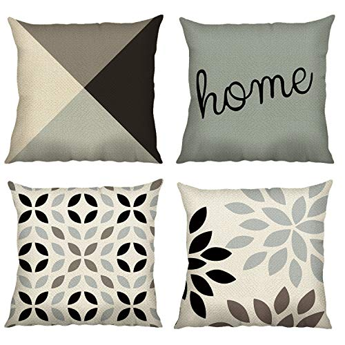 Bonhause Cushion Covers 18 x 18 Inch Set of 4 Blue Modern Geometric Cotton Linen Decorative Throw Pillow Covers Square Pillowcases for Sofa Couch Car Bedroom Home Décor, 45cm x 45cm