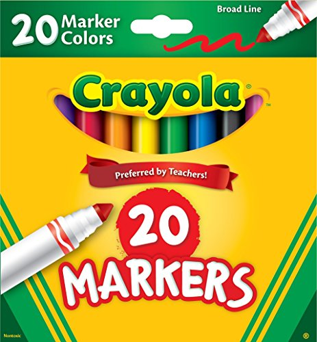 Crayola Broad Line Markers 20 Count - Includes 10 Classic Crayola Colors and 10 Assorted Crayola Marker Colors