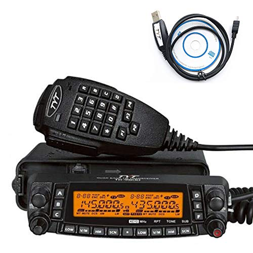 TYT TH-9800 50 CTCSS Tones/1024 DCS Codes Walkie Talkie 26-33/47-54/134-174/400-480MHz A+B dual band Two Way Radio Black 50W Dual Band Quad Band