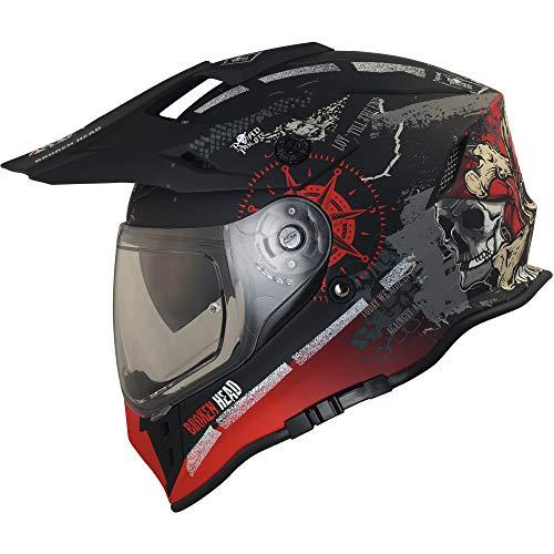 Broken Head Road Pirate VX2 - Motorradhelm Mit Sonnenblende - MX Cross-Helm In Schwarz & Rot - Größe L (59-60 cm)