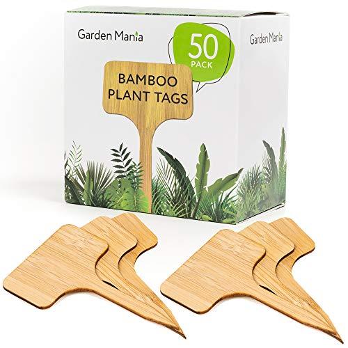 50 Natürliche Bambus Pflanzenschilder Kräuterschilder Pflanzenstecker Beschriften - Umweltfreundlich & Biologisch Abbaubar - für Garten Kräuter Setzlinge Blumen Gemüse - Gartengeräte Zubehör.