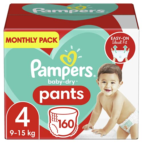 Pampers Baby-Dry Size 4, 160 Nappy Pantaloni, (9-15 kg / 8-14 kg), Easy-On per un massimo di 12 ore...