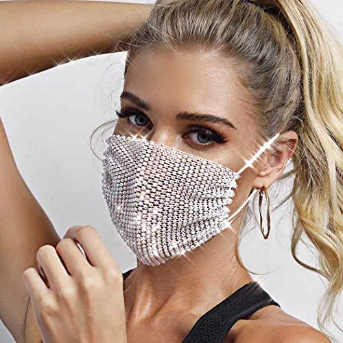 Ushiny Sparkly Mesh-Maske Pailletten-Kostümball-Partei-Gesichts Abdeckung Halloween Genie Kostüm Zubehör Karneval Schmuck für Frauen und Mädchen (Weiß)