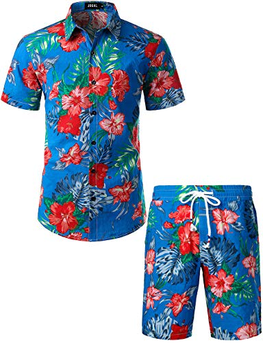 JOGAL Men's Flower Casual Button Down Short Sleeve Hawaiian Shirt Suits Small Lakeblue