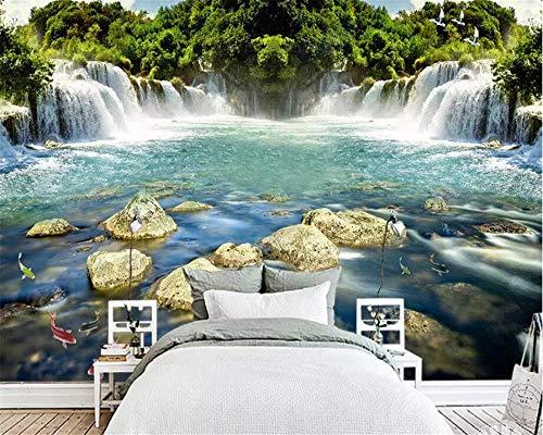 Mrlwy Benutzerdefinierte Tapete 3d Fototapete schönes Wasser fließt Wasserfall Bildschirm Hintergrundbild 3d Wandbild-400X280cm
