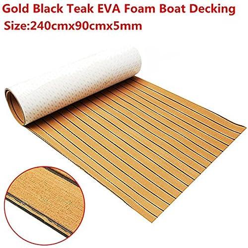 ChaRLes 240cmx90cmx5mm Gold mit Schwarzn Linien Marine Fu den Faux Teak EVA Schaum Stiefel Decking Sheet