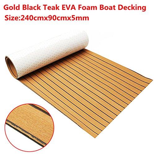 EsportsMJJ 240cmx90cmx5mm Goud Met Zwarte Lijnen Marine Vloeren Faux Teak EVA Schuim Boot Decking Sheet