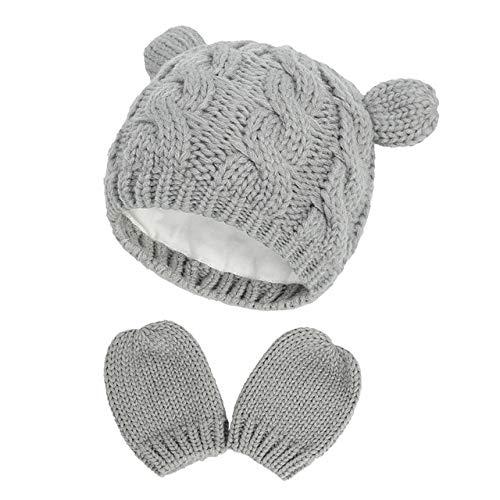 Nuevo bebé niños niñas niños Invierno cálido Gorro de Punto Oreja sólido cálido Lindo Guante 2 uds Gorro Encantador 0-18 M-Dark Grey-1-0-3M