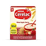 Nestle Cerelac Fortified Baby Cereal with Milk - Wheat, Apple & Cherry, 300g BIB Pack (From 8 Months)