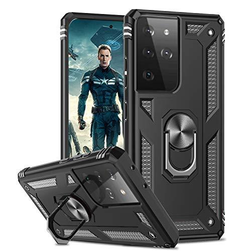 LeYi Funda para Samsung Galaxy S21 Ultra 5G,Armor Carcasa con 360 Grados Anillo iman Soporte Hard PC Silicona TPU Bumper Antigolpes Case para Movil Samsung Galaxy S21 Ultra 5G,Negro