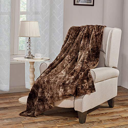 Faux Fur Bed Blanket Soft Cozy Warm Fluffy Variation Print Minky Fleece Throw Blanket, Brown, 60'×80'