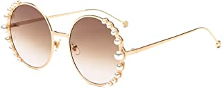 Fashion Round Pearl Decor Sunglasses UV Protection Metal Frame
