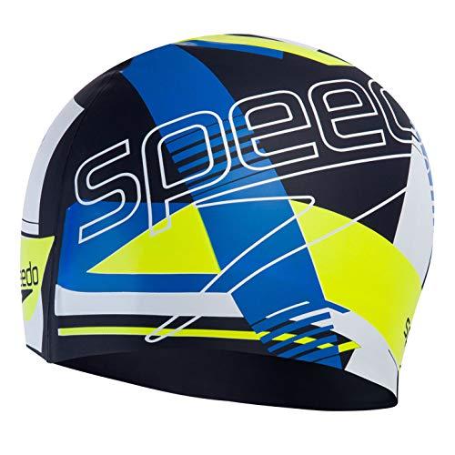 Speedo Slogan Print Cap Swimming Caps, Adult Unisex, Azul/Amarillo, Talla única