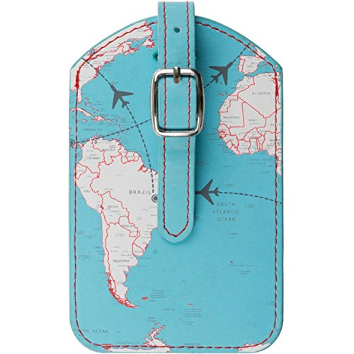 Trendz Luggage Tag/Travel Label with Metal Buckle - World Map