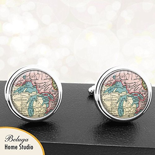 Map Cufflinks Great Lakes Canada USA Border Map Cufflinks Handmade USA City Cuff Links Antique Maps