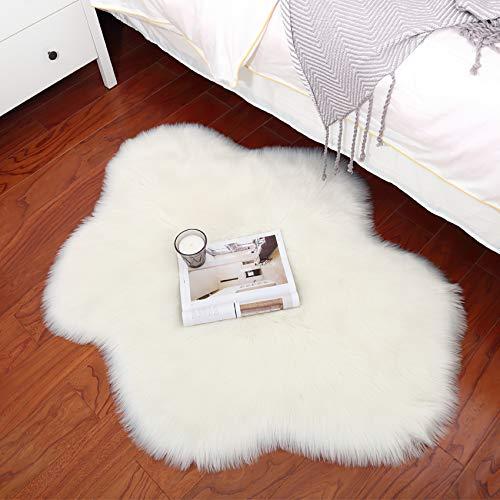 HEXIN Super weicher Kunstfell Schaffell Bett-Vorleger Teppiche,Faux Lammfell Schaffell Teppich, Bequeme Wohnzimmerteppiche, Teppich so schön wie eine Wolke (Weiß, 70x90cm)