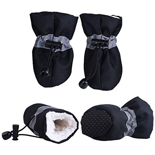Etophigh 4 Teile/los Winter Warme Hundeschuhe mit Kaschmir Innen,Anti-Slip Schuhe für Kleine Hund Regen Schnee Welpen Warme Stiefel Schutzhülle Hund