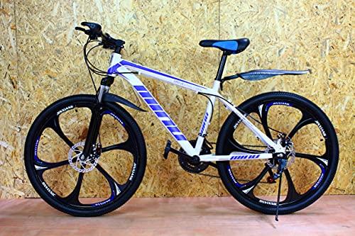 Bicicleta de montaña junior azul 26 '' rueda 21 velocidades marco de acero frenos de disco niños y niñas