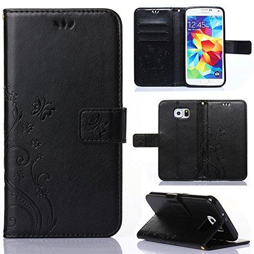 numerva Funda compatible con Samsung Galaxy S5, funda para teléfono móvil, funda con tarjetero, diseño de flores, color negro