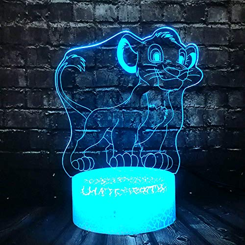 Veilleuse Le Roi Lion 3D Illusion Led, Lampe De Table À Commutateur Tactile Changeant Progressif À 7 Couleurs Les Enfants Anniversaire Cadeaux Jouets Décorations