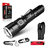klarus XT11GT 2000 Lumens Compact Rechargeable Tactical Flashlight, Beam Reach 316m, 18650 Battery, Triple Tactical Switch, Programmable Settings
