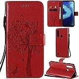 C/N DodoBuy Hülle für Motorola Moto One Fusion Plus, Katze Baum Muster Flip PU Leder Schutzhülle Handy Tasche Hülle Cover Standfunktion mit Kartenfächer - Rot