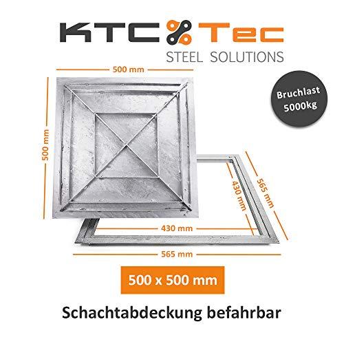 SAB-50 Stahl Schachtabdeckung verzinkt befahrbar 500 x 500 mm Tränenblech Schachtdeckel Deckel mit Rahmen Kanalschacht quadratisch eckig