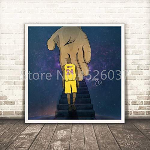 UIOLK Póster de Kobe (Kobes) de Estilo nórdico, Estrella de Baloncesto de Mamba Negra, sobre Lienzo, decoración artística para Pared, decoración Colorida para el hogar