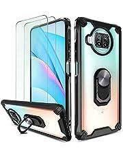 QHOHQ Funda para Xiaomi Mi 10T Lite 5G con 2 Pack Protector de Pantalla,[360° Giratorio Soporte] [Grado Militar Anti-caída Protección],Espalda Transparente Rígida para PC,Bordes TPU Suave-Negro