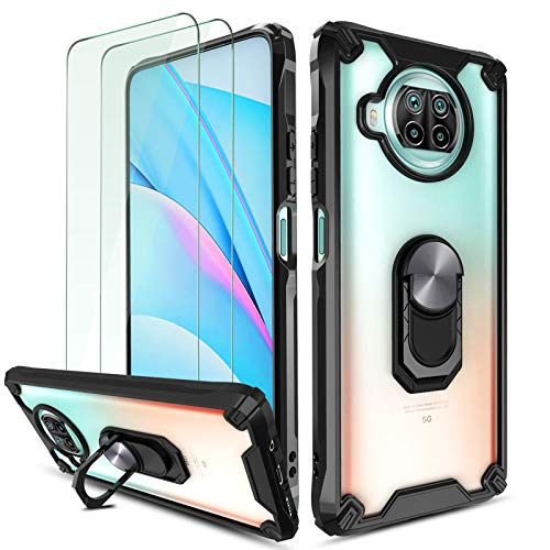 QHOHQ Case for Xiaomi Mi 10T Lite 5G with 2 Pack Screen Protector, [Patented Design] [360° Rotating Stand] [Military Grade Anti-Fall Protection],Transparent Hard PC Back, Soft TPU Edge-Black