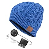 Zibaar Bluetooth Beanie Hat Headphone Beanie Wireless Hat with Bluetooth V4.2 Headset Over 5 Hours Running Time at Max Volume Hands Free Talking Polar Fleece Beanie Hat for Men Women Unisex Blue