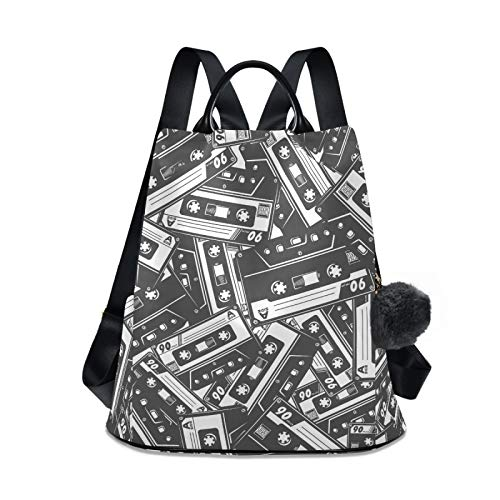 Women's Travel Backpack Purse, Lightweight Waterproof Oxford Small Outdoor Casual Anti-theft Student Backpack Black White Cassette Tape
