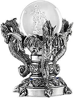 Design Toscano Dragons of Corfu Castle Gothic Decor Statue Globe Figurine, 5 Inch, Silver Chrome